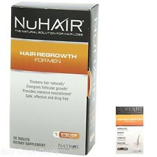 NuHair Hair Regrowth Tablets For Men 60 Count Box Pack Rejuvenation Safe New