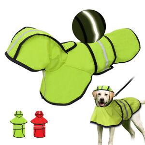 Reflective Pet Puppy Dog Raincoat Waterproof Hooded Rain Coat Jacket Clothing
