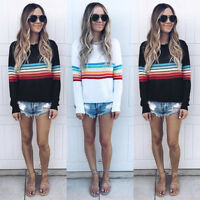 Women Long Sleeves Multicolor Stripes Casual Club Sports Sweats T- Shirt Tops