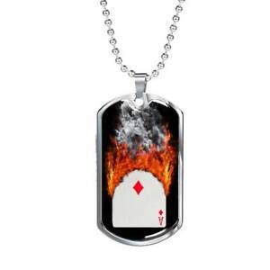 """Casino Poker Diamond On Fire Dog Tag Stainless Steel or 18k Gold 24"""" Chain"""