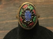 Enamel Multi Colors Design Vintage Estate Goldtone Oval Ring