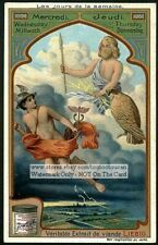 Days Of The Week Wednesday Thursday  Art Nouveau  c1905 Trade Ad Card
