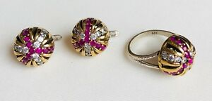 Handmade Turkish Ruby Jewellery Set Ring Dangle Earrings Ottoman Jewelry 7.5
