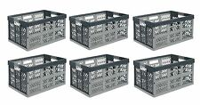 6 x Pro - Foldable box TUV certified 45 L bis 50 kg silver / grey Folding Crate