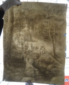 VICTORIAN ERA PRIMITIVE ANTIQUE DRAWING ON HAND MADE LAID PAPER ARCHES WATERMARK