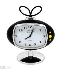 Mini Urban Station Black Analog Stainless Steel Desk Clock Oval Tv Design