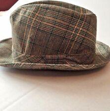 Hat Fedora Plaid Brown Green Band J C Penny Vintage Size 7 1/4 - 7 3/8 Men