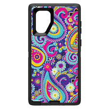 OtterBox Defender for Galaxy Note 8 9 10 + Hot Blue Yellow Pink Paisley