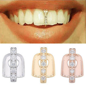Cool Hip Hop Teeth Cap Single Tooth Grill Cap Diamond Gold Hip Hop Braces Cover