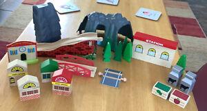 Bundle Of Train Accessories Plastic & Wooden, Stores ,trees,Bridge,tunnel& More