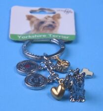 Yorkshire Terrier Keychain, Pewter, 6 charms, I Love My Dog,Best In Show