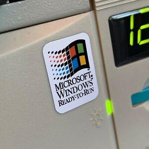 Windows 95 98 NT 3.1 Ready to Run Custom Vintage Computer Case Badge Sticker WHT