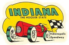 Indiana Race Car    Vintage Style Travel Decal Sticker