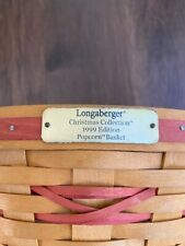 Longaberger Christmas Collection 1999 Edition Popcorn Basket Combo w Red Stripe