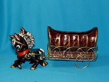 Vintage Covered Wagon and Horses/Donkeys Planter Made in Japan