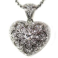 Heart Cubic Zirconia Pendant Necklace Designer Vintage Style Filigree 18KGP