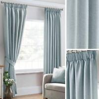 Blue Lined Curtains Plain Textured Woven Tape Top Ready Made Pencil Pleat Pairs