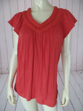RXB Top S Rose Stretch Knit Cotton Poly Pullover Macrame Style V-Neck New