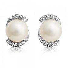 925 Sterling Silver Natural Gem White Topaz & Pearls Men's Cufflinks