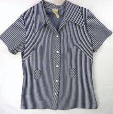 Vintage 60s Novelty Poly Knit Stripes Big Collar Long Tunic Shirt Blouse XL