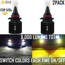 Alla Lighting LED H10 9145 9045 Driving Light Fog Lamp,Two Bi-Color White Yellow