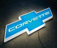 CHEVROLET CHEVY CORVETTE BOWTIE LED ILLUMINATED LIGHT BOX SIGN GARAGE STINGRAY