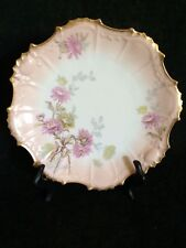 Limoge Coiffe Factory/ 4  Plates, Gold & Pink Floral