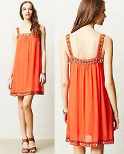 ANTHROPOLOGIE Moulinette Soeurs NWT Inina Swing Dress Orange Beaded Sz 2 XS $188