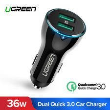 Ugreen Car USB Charger Quick Charge 3.0 Dual Twin Fast Charging for Samsung S9