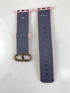 Apple Watch Woven NYLON Band 38MM 40MM Rose Gold buckle Light Pink/Midnight Blue