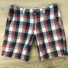 Aeropostale Flat Front Plaid Red & Blue Men's Shorts Size 32  (Z11)