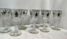 8 Frosted Silver Leaf Foliage Wine Glasses Mid Century Modern Libbey Barware