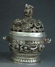 CHINESE SILVER COPPER CARVING DRAGON BEAST HOLLOW INCENSE BURNER
