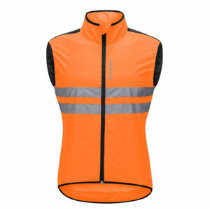 Mens Cycling Gilet Lightweight Vest Wind Resistant Breathable Reflective Jacket