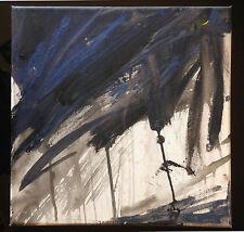toile originale - peinture signé - contemporain canvas tableau art bleu noir