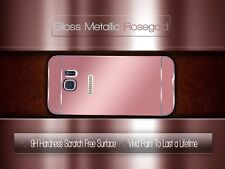 samsung s7 edge mirror case metal rose gold 360 curved glass screen protector