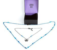 AUTH ANNA SUI LADIES BLUE STONES BUTTERFLY MOTIF CHAIN NECKLACE SETS W/ BOX