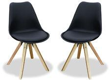 KMH® 2er Set Designstuhl Angie Esszimmerstuhl Schalenstuhl Stuhl Sessel schwarz