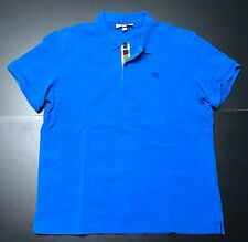BURBERRY MENS SLIMMING FIT SS SOLID ROYAL BLUE DESIGNER POLO SHIRT SIZE: XXL
