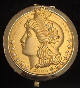 Millennium 2000 Compact Mirror Gold Tone Coin