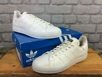 ADIDAS ORIGINALS MENS STAN SMITH WHITE LEATHER TRAINERS BLACK HEEL TONGUE T