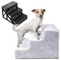 3 Steps Soft Stairs Washable Doggy Pet Dog Ladder Puppy Cover Ramp Folding ;