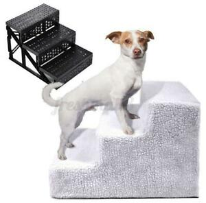 3 Steps Soft Stairs Washable Doggy Pet Dog Ladder Puppy Cover Ramp Folding