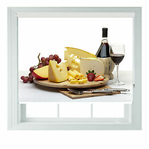 Cheese & Wine themed blackout roller blind for Kitchen Bathroom various sizes