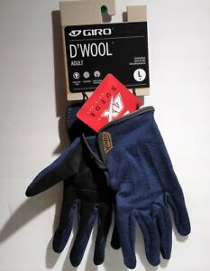 GIRO D'Wool Cycling Gloves MENS LARGE (9) Suede Original Blue MTB/ROAD NEW