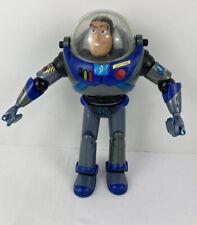"Buzz Lightyear Blue Grey 12"" Talk Talk Action Figure Green Man Rescue Pack 2001"