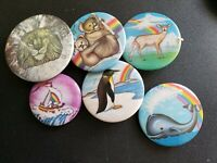 Vintage Collectible Pin Back Buttons Animal Pack Lot of 6
