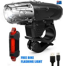 Rechargeable LED Bike Bicycle USB Waterproof Front Headlight Back Tail Lights AU