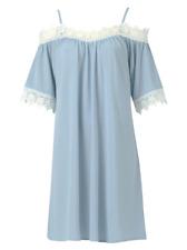 Blue Cold Shoulder Crochet Lace Swing Dress Summer Dress  8 10 12 14