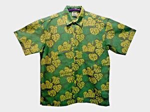 Mens Hawaiian Style Cotton Batik Shirt Leaf Green Loud Shirt Holiday Stag Party